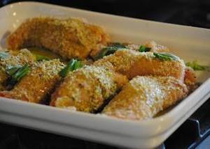 Involtini di pesce spada con impanatura di pistacchi