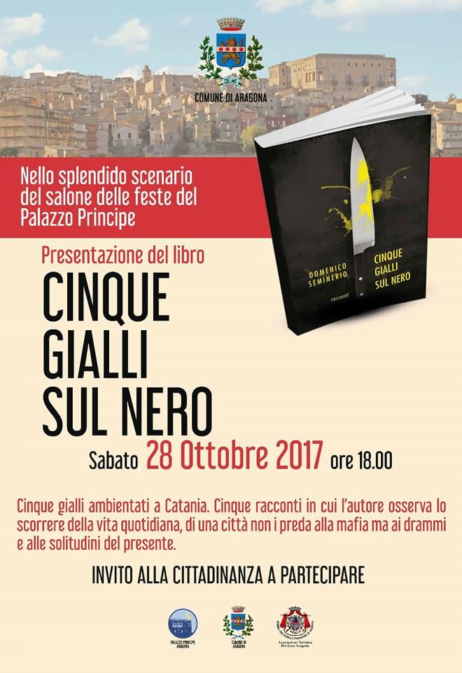 """ARAGONA-Lo scrittore Domenico Seminerio presenta il romanzo""""Cinque gialli sul nero"""""""