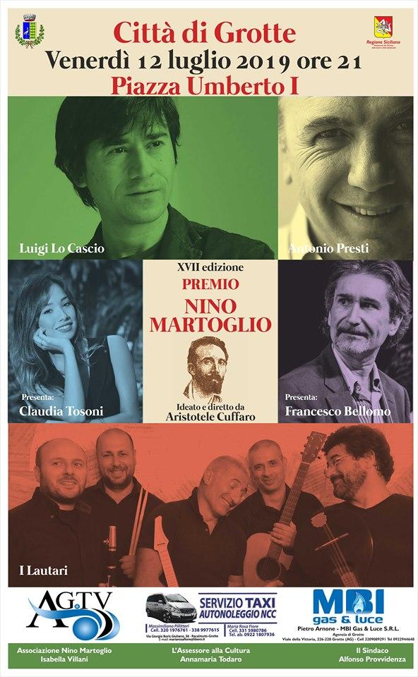 "GROTTE- Premio ""Nino Martoglio"" 2019, riconoscimento speciale a Luigi Lo Cascio e Antonio Presti"