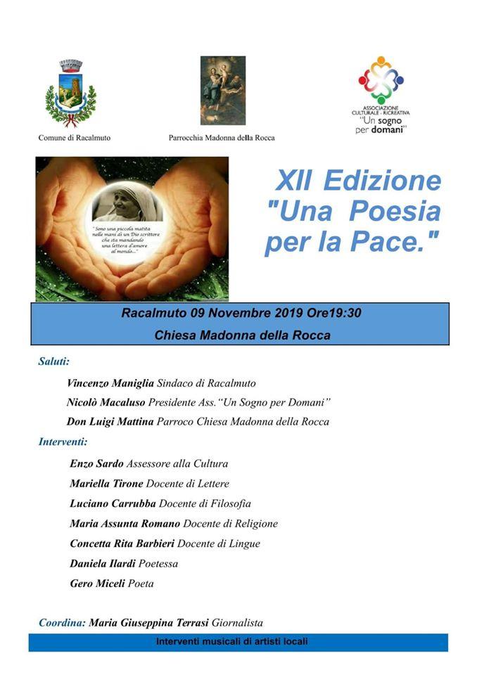 """RACALMUTO-Premiazione Concorso """"Una Poesia per la Pace"""" XII edizione"""